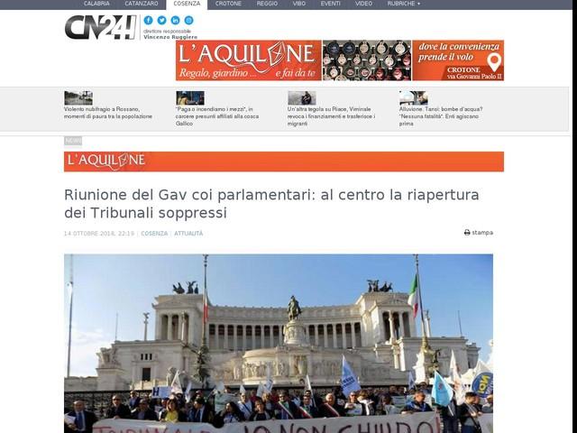 Riunione del Gav coi parlamentari: al centro la riapertura dei Tribunali soppressi