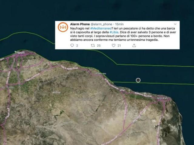 Alarm Phone parla di un possibile naufragio con 100 persone a bordo