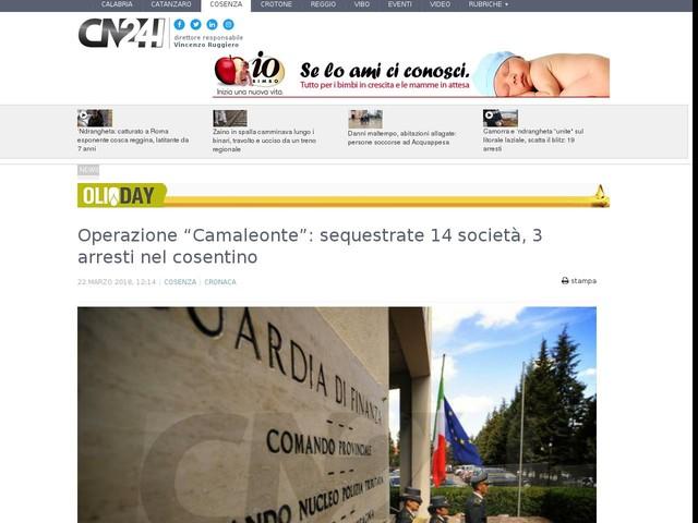 """Operazione """"Camaleonte"""": sequestrate 14 società, 3 arresti nel cosentino"""
