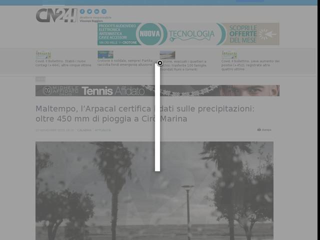 Maltempo, l'Arpacal certifica i dati sulle precipitazioni: oltre 450 mm di pioggia a Cirò Marina