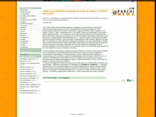 Federparchi - Nelle Aree Protette consumo di suolo al minimo, 0,003% del totale
