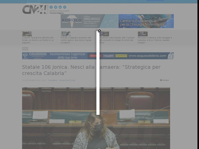 "Statale 106 Jonica. Nesci alla Camaera: ""Strategica per crescita Calabria"""