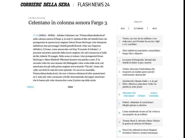 Celentano in colonna sonora Fargo 3