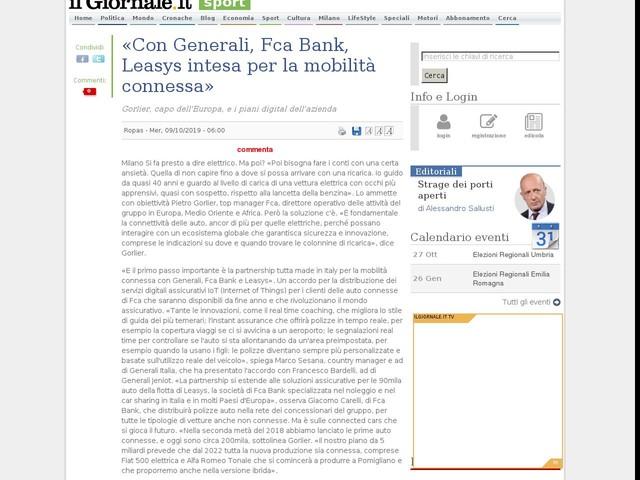 «Con Generali, Fca Bank, Leasys intesa per la mobilità connessa»