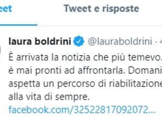 """Laura Boldriniin ospedale """"per un intervento chirurgico"""": l'annuncio via socialdell'ex presidente della Camera"""