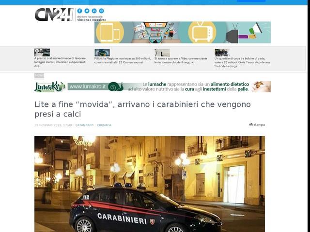 """Lite a fine """"movida"""", arrivano i carabinieri che vengono presi a calci"""