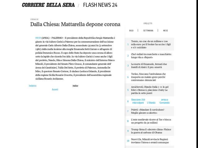 Dalla Chiesa: Mattarella depone corona