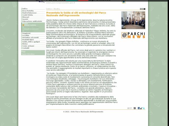 PN Aspromonte - Presentata la Guida ai siti archeologici del Parco Nazionale dell'Aspromonte