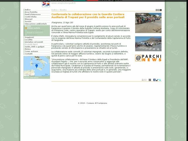 AMP Isole Egadi - Confermata la collaborazione con la Guardia Costiera Ausiliaria di Trapani per il presidio nelle aree portuali
