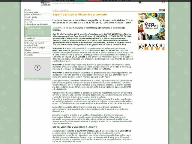 PN Cinque Terre - Sapori Verticali & Vincomics a Levanto