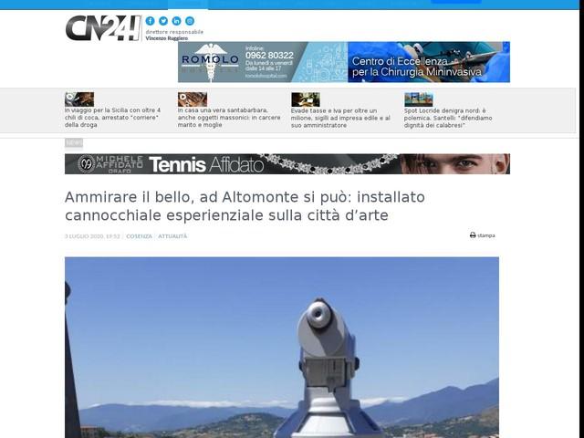 Ammirare il bello, ad Altomonte si può: installato cannocchiale esperienziale sulla città d'arte