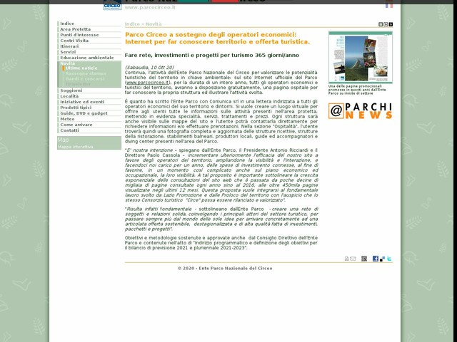 PN Circeo - Parco Circeo a sostegno degli operatori economici: Internet per far conoscere territorio e offerta turistica.