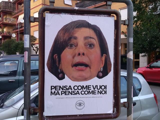 Pomezia e Ardea, spuntano ovunque manifesti (abusivi) con il volto della Boldrini: 'Pensa come vuoi, ma pensa come noi'