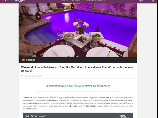 Weekend di lusso in Marocco: 3 notti a Marrakech in eccellente Riad 4* con colaz. + volo da 153€!