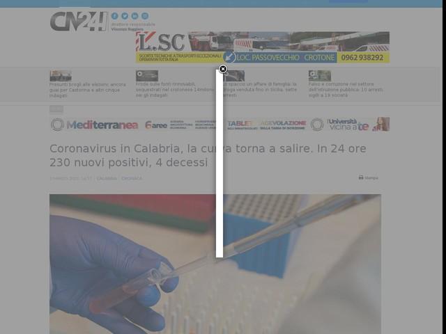 Coronavirus in Calabria, la curva torna a salire. In 24 ore 230 nuovi positivi, 4 decessi