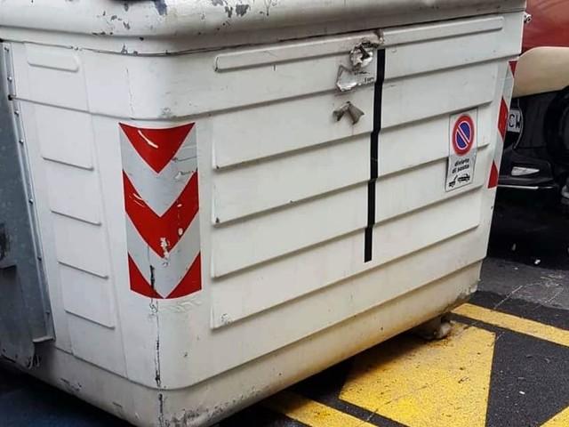 """Cassonetto 'parcheggiato' sul posto dei disabili, Sos città: """"Lì da una settimana"""""""