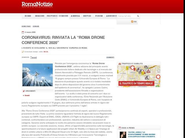 """CORONAVIRUS: RINVIATA LA """"ROMA DRONE CONFERENCE 2020"""""""