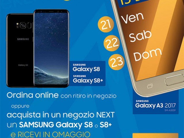Galaxy A3 2017 in regalo con Galaxy S8 o S8+ da oggi fino a domenica