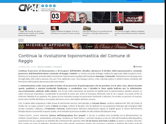 Continua la rivoluzione toponomastica del Comune di Reggio