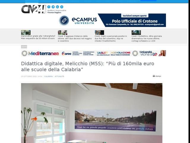 """Didattica digitale, Melicchio (M5S): """"Più di 160mila euro alle scuole della Calabria"""""""