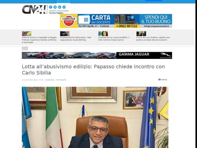 Lotta all'abusivismo edilizio: Papasso chiede incontro con Carlo Sibilia