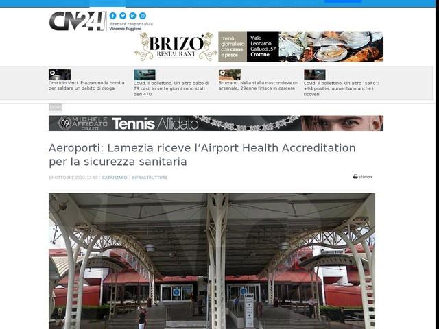 Aeroporti: Lamezia riceve l'Airport Health Accreditation per la sicurezza sanitaria
