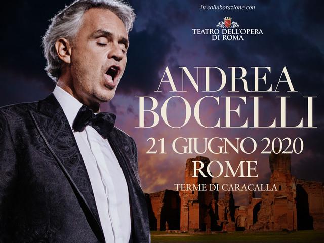 Andrea Bocelli annuncia il concerto evento alle Terme di Caracalla