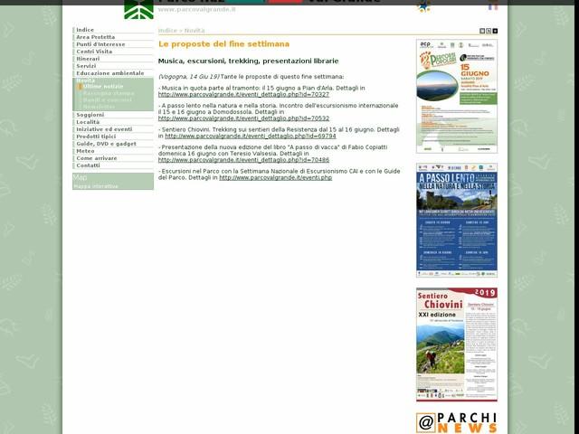 PN Val Grande - Le proposte del fine settimana