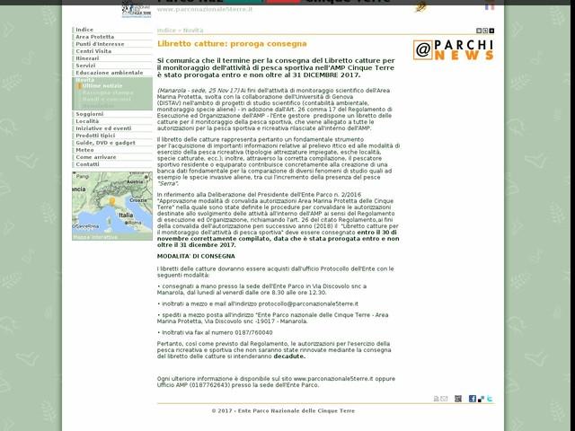 PN Cinque Terre - Libretto catture: proroga consegna