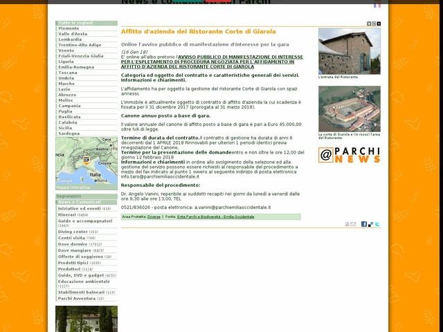 Ente Parchi e Biodiversità - Emilia Occidentale - Affitto d'azienda del Ristorante Corte di Giarola