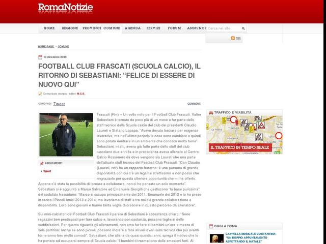 """Football Club Frascati (Scuola calcio), il ritorno di Sebastiani: """"Felice di essere di nuovo qui"""""""