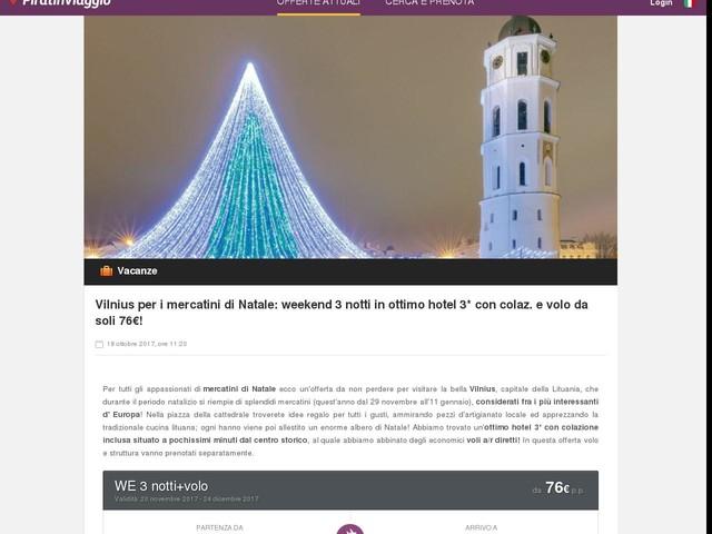 Vilnius per i mercatini di Natale: weekend 3 notti in ottimo hotel 3* con colaz. e volo da soli 76€!