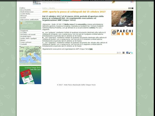 PN Cinque Terre - AMP: aperta la pesca ai cefalopodi dal 15 ottobre 2017