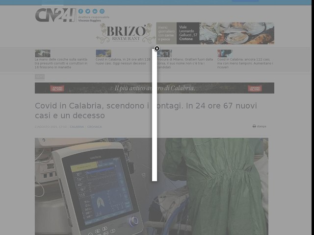 Covid in Calabria, scendono i contagi. In 24 ore 67 nuovi casi e un decesso