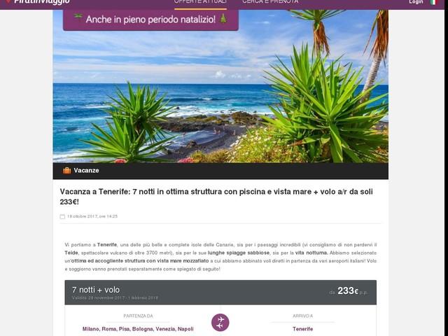 Vacanza a Tenerife: 7 notti in ottima struttura con piscina e vista mare + volo a/r da soli 233€!