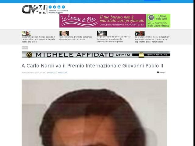 A Carlo Nardi va il Premio Internazionale Giovanni Paolo II