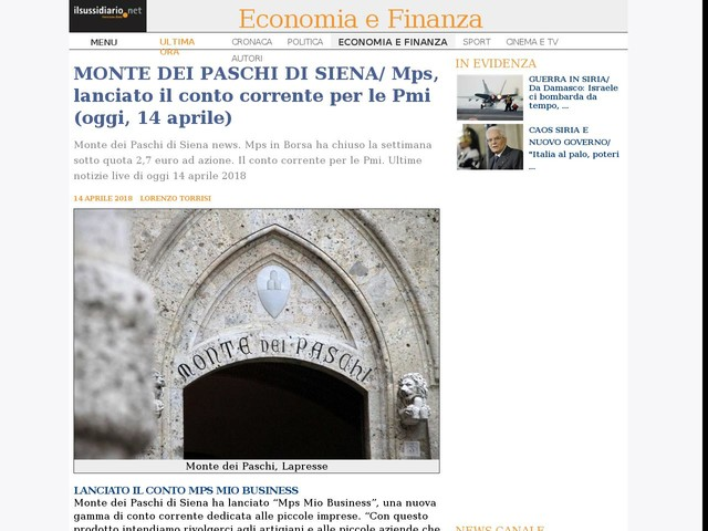 MONTE DEI PASCHI DI SIENA/ Mps, lanciato il conto corrente per le Pmi (oggi, 14 aprile)