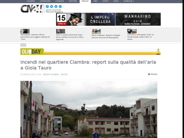 Incendi nel quartiere Ciambra: report sulla qualità dell'aria a Gioia Tauro
