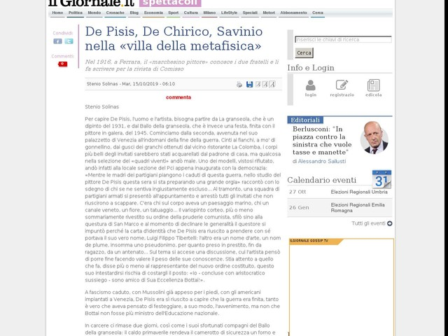 De Pisis, De Chirico, Savinio nella «villa della metafisica»