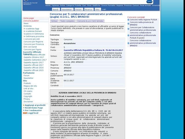 Collaboratore amministrativo professionale - BRINDISI - 5 posti