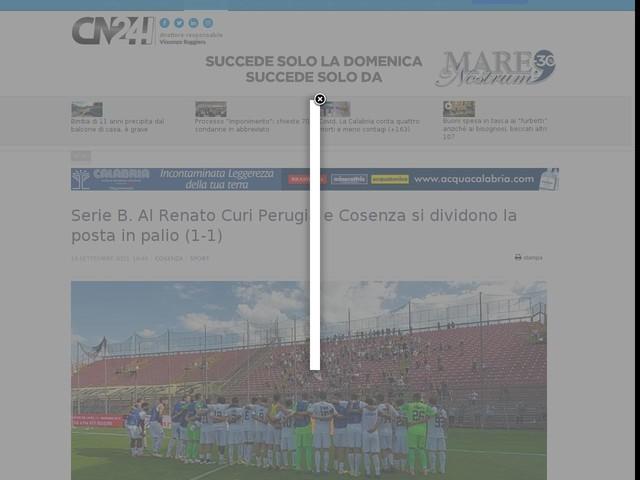 Serie B. Al Renato Curi Perugia e Cosenza si dividono la posta in palio (1-1)