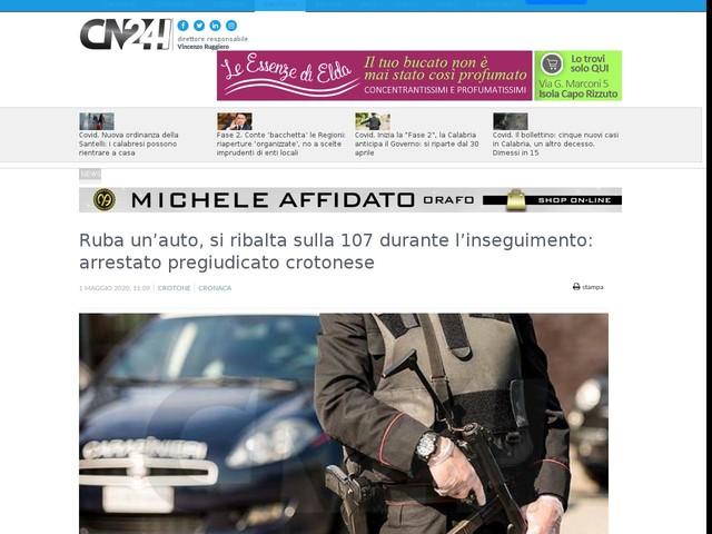 Ruba un'auto, si ribalta sulla 107 durante l'inseguimento: arrestato pregiudicato crotonese