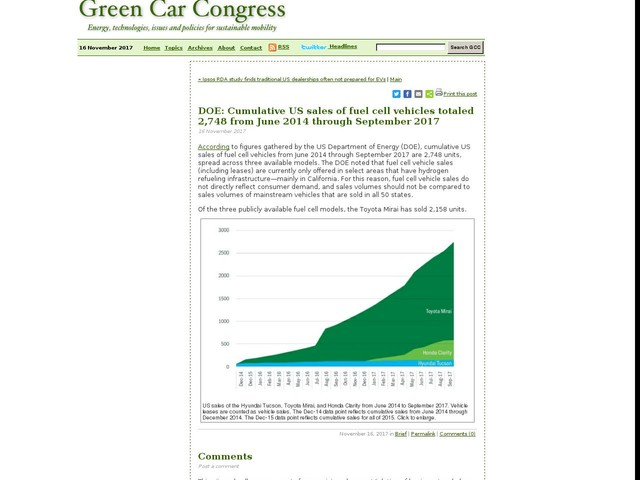 DOE: Cumulative US sales of fuel cell vehicles totaled 2,748 from June 2014 through September 2017