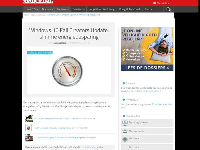 Windows 10 Fall Creators Update: slimme energiebesparing