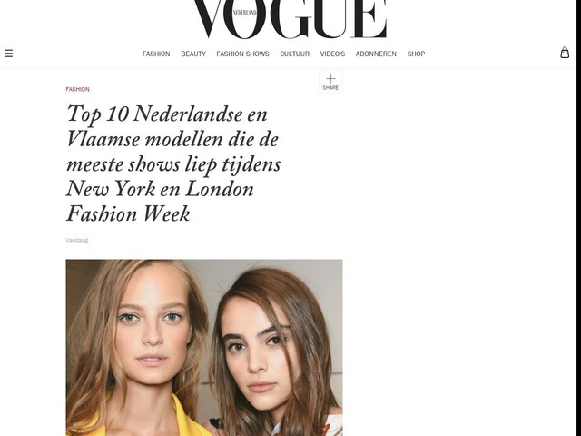 Top 10 Nederlandse en Vlaamse modellen die de meeste shows liep tijdens New York en London Fashion Week