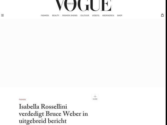 Isabella Rossellini verdedigt Bruce Weber in uitgebreid bericht