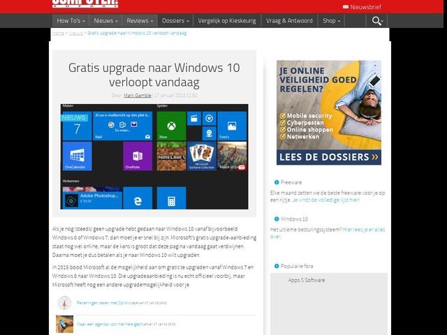 Gratis upgrade naar Windows 10 verloopt vandaag