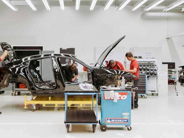 2020 Porsche Mission E prototype teased from the production floor