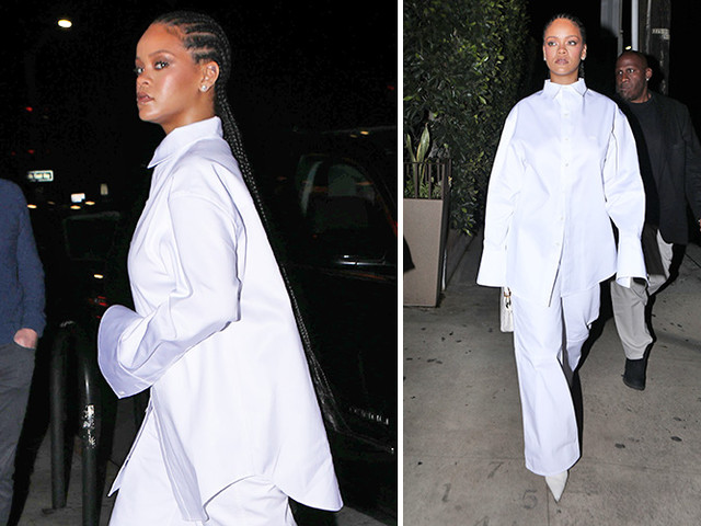 Rihanna Rocks Cornrows And A Chic White Outfit For Dinner At Her Favorite Restaurant