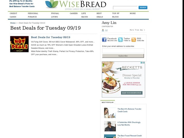 Best Deals for Tuesday 09/19